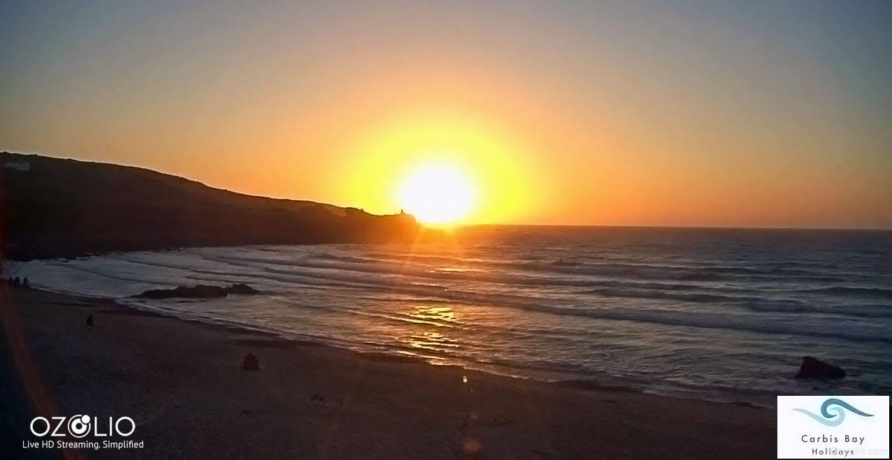 Sunset on Carbis Bay, as captured on the Ozolio live webcam