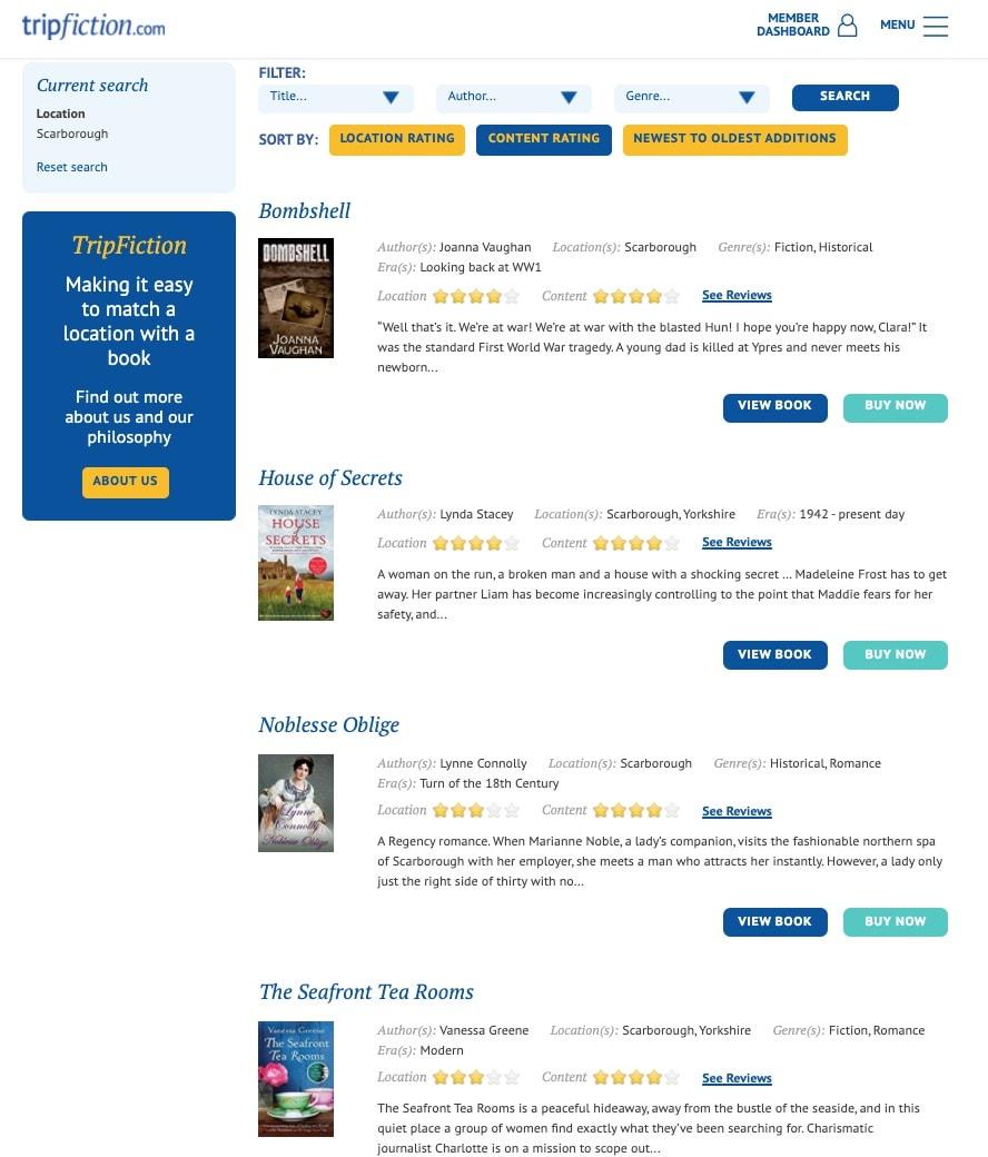 Trip Fiction books set in Scarborough