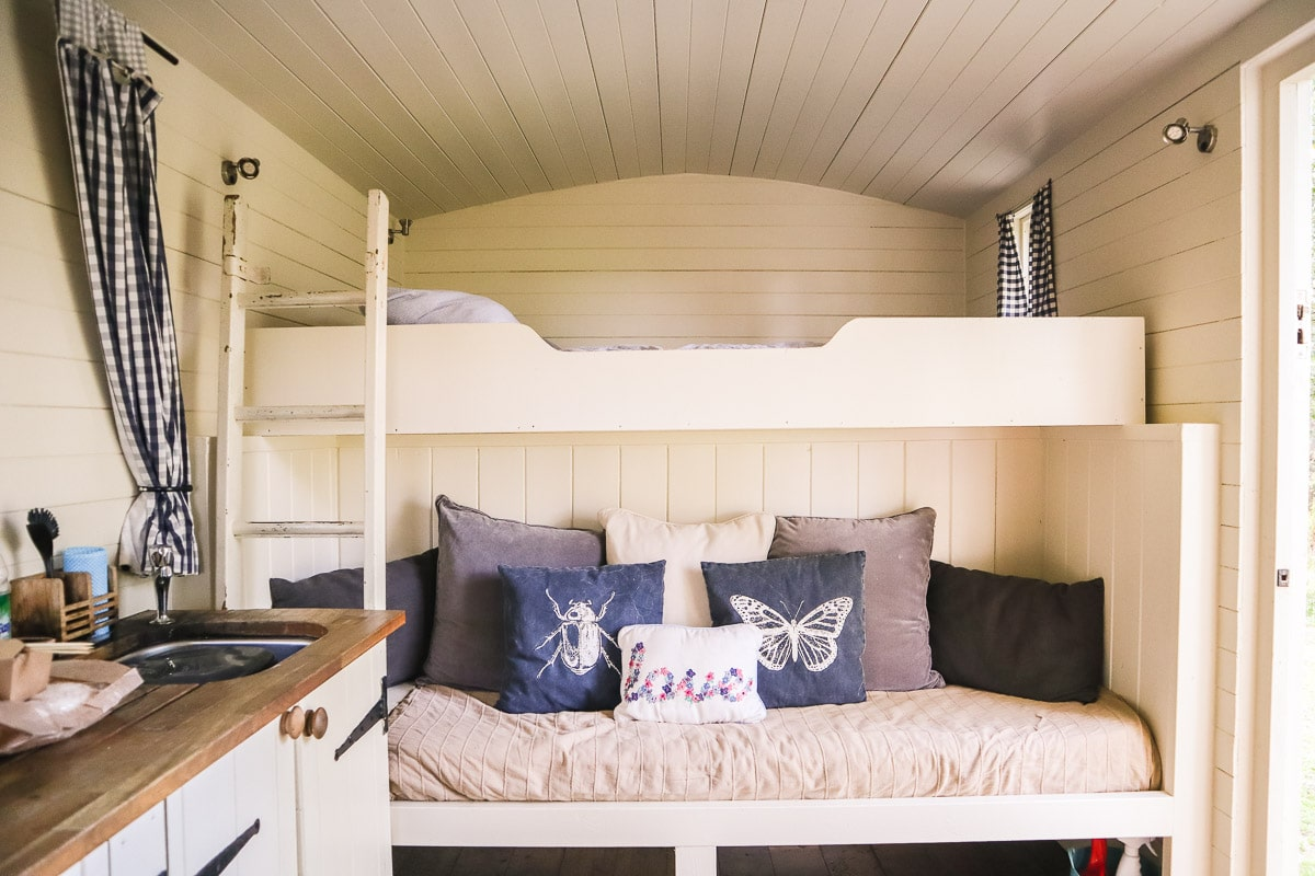 Inside our shepherd's hut at The Original Hut Company, Bodiam