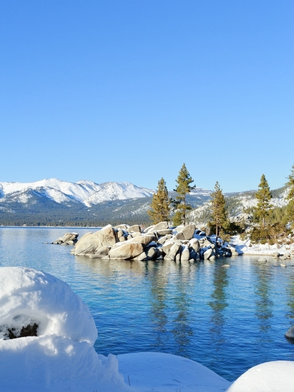 Stunning icy scenes in Lake Tahoe in winter