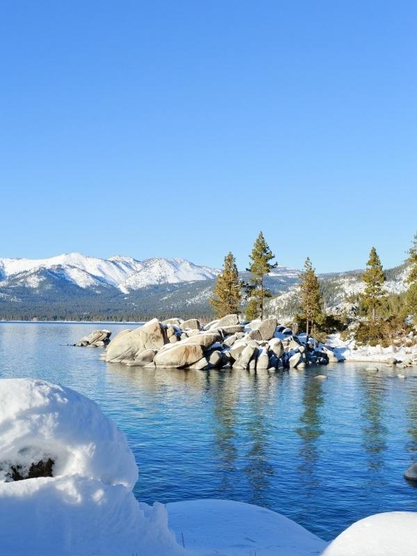 Stunning icy scenes in Lake Tahoe in winter