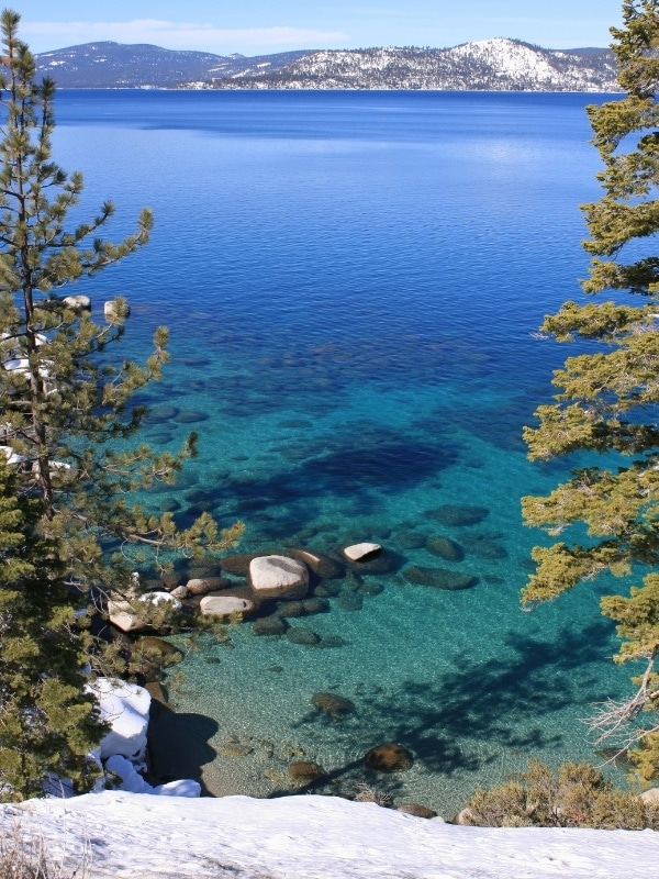 The bright colours of Lake Tahoe