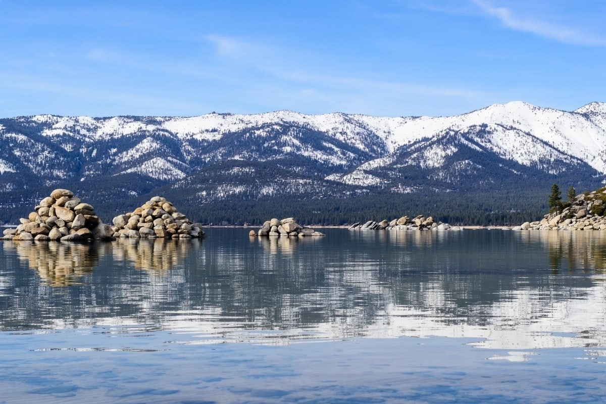 Mirror reflections of the mountains in Lake Tahoe