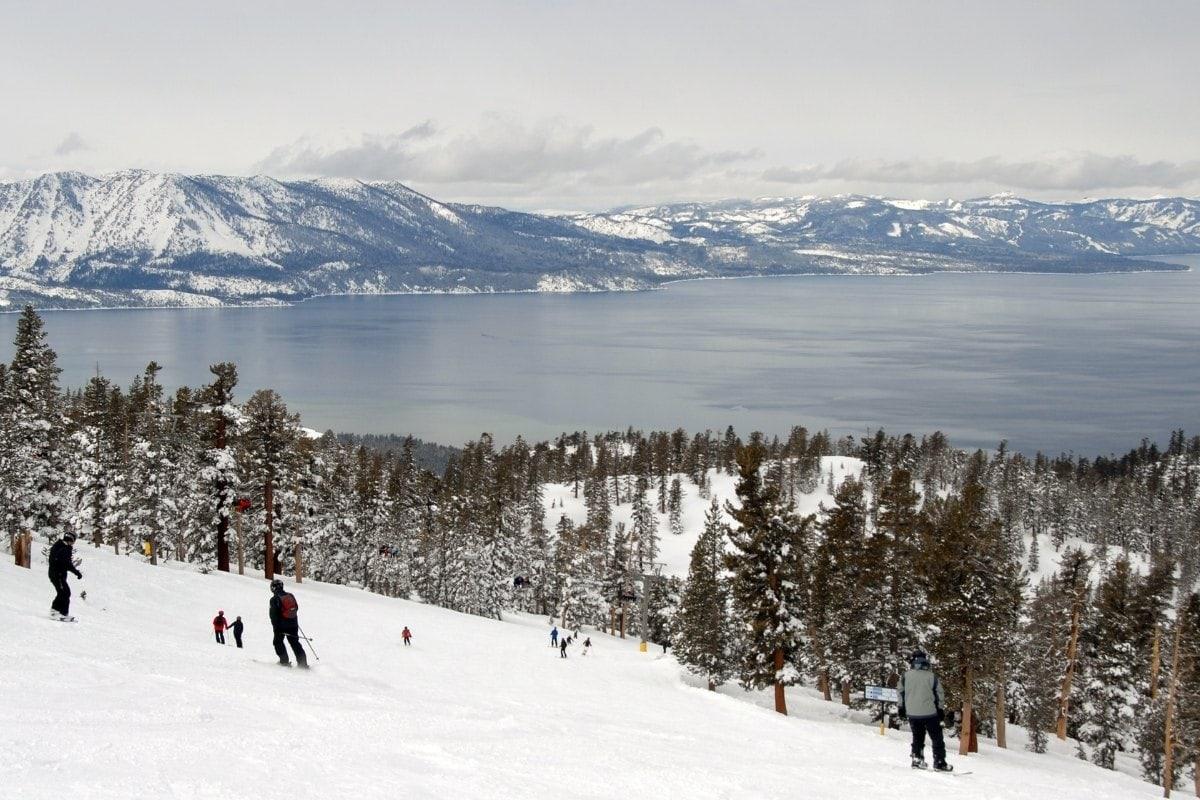 Skiing in Lake Tahoe in winter