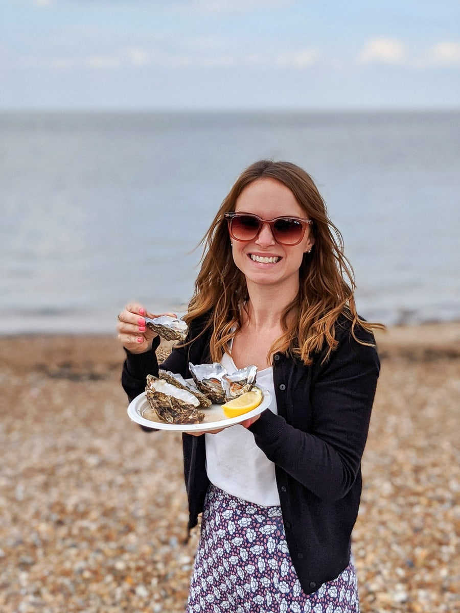 Oysters on Whitstable beach