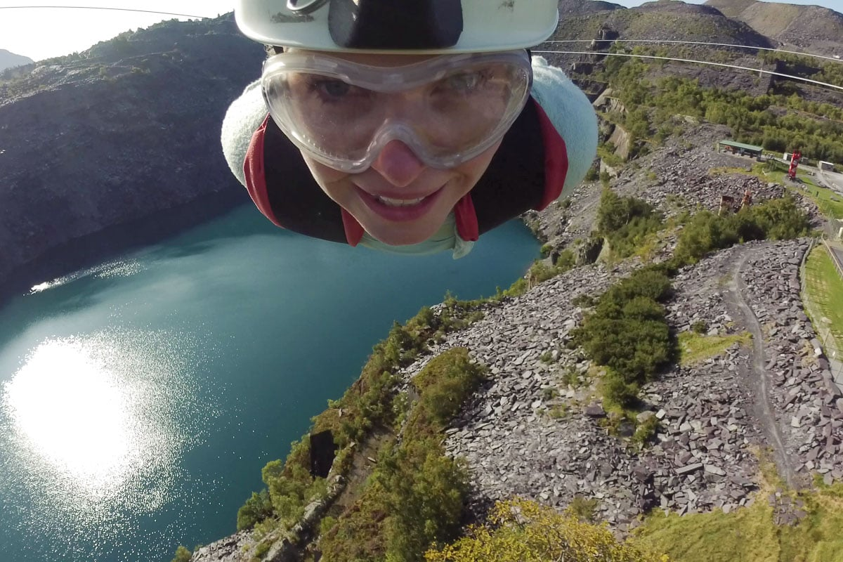 Riding the fastest zipline in the world - Velocity 2 at ZipWorld, North Wales