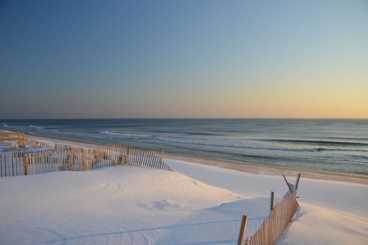 Beach in New Jersey in winter