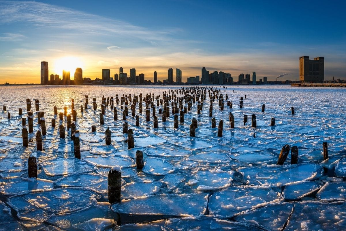 Ice on the Hudson River in New Jersey