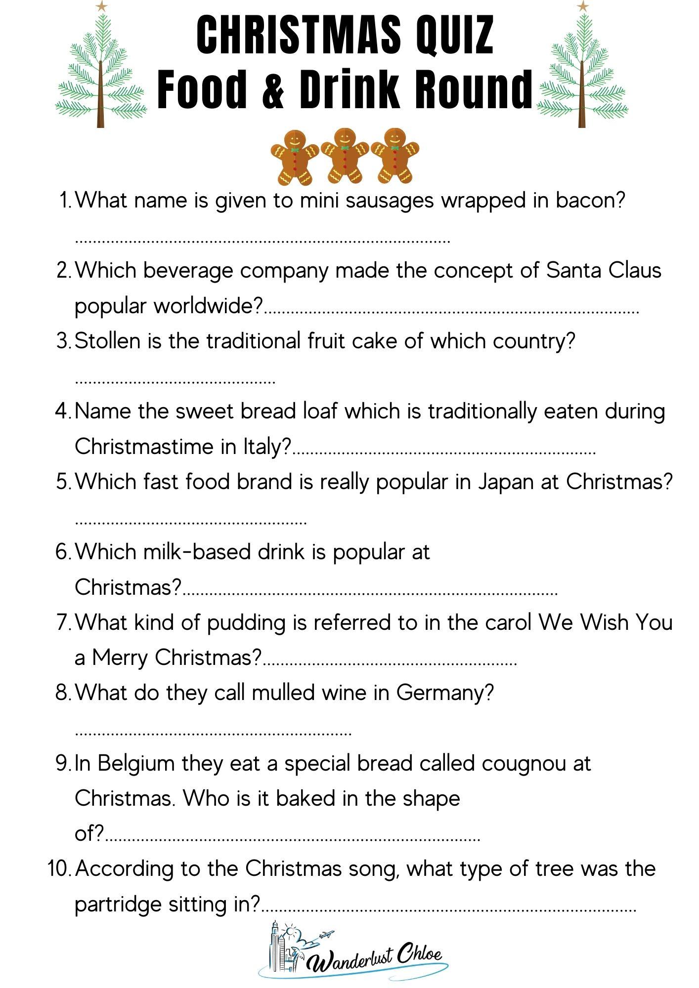 Printable Christmas Quiz Questions - Food & Drink