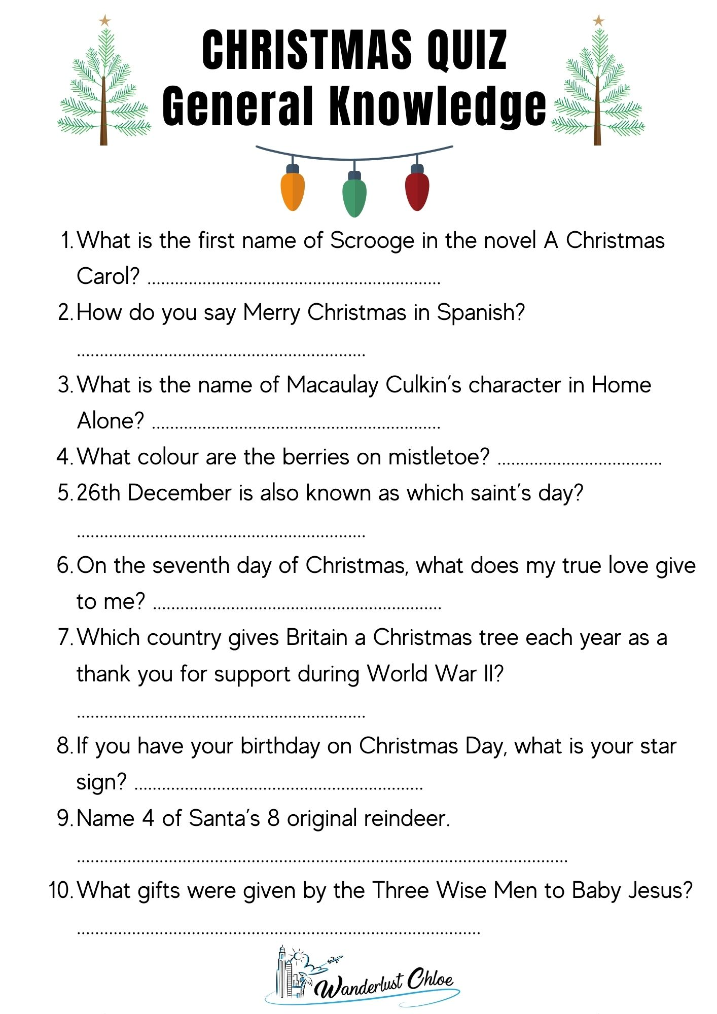 Printable Christmas Quiz Questions - General Knowledge