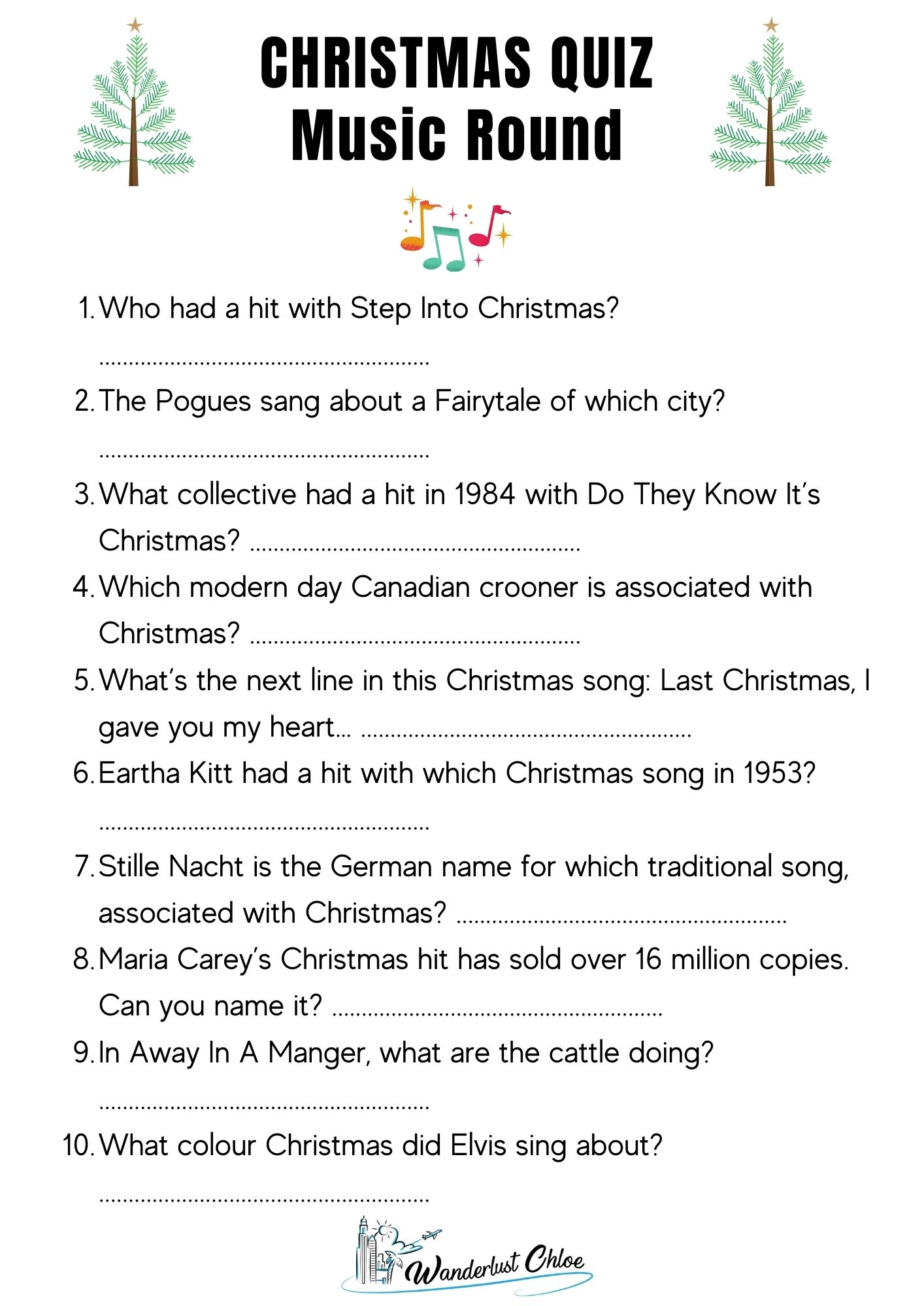 Printable Christmas Quiz Questions - Music Round