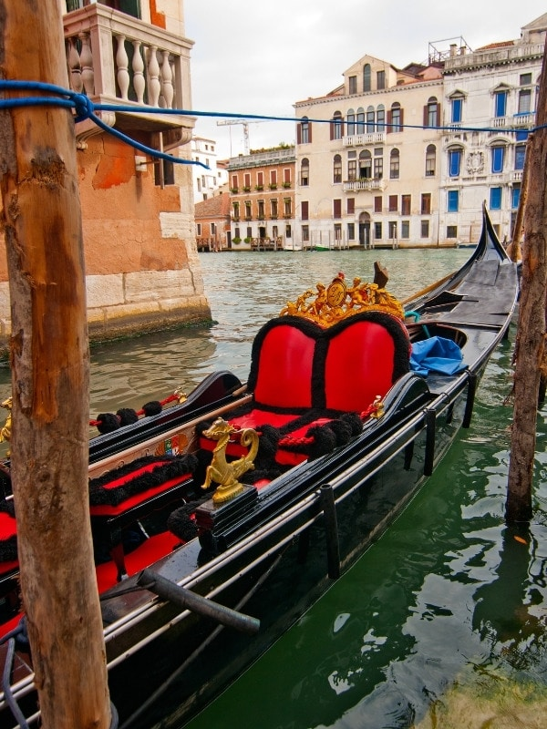 The gondolas in Venice are painted black
