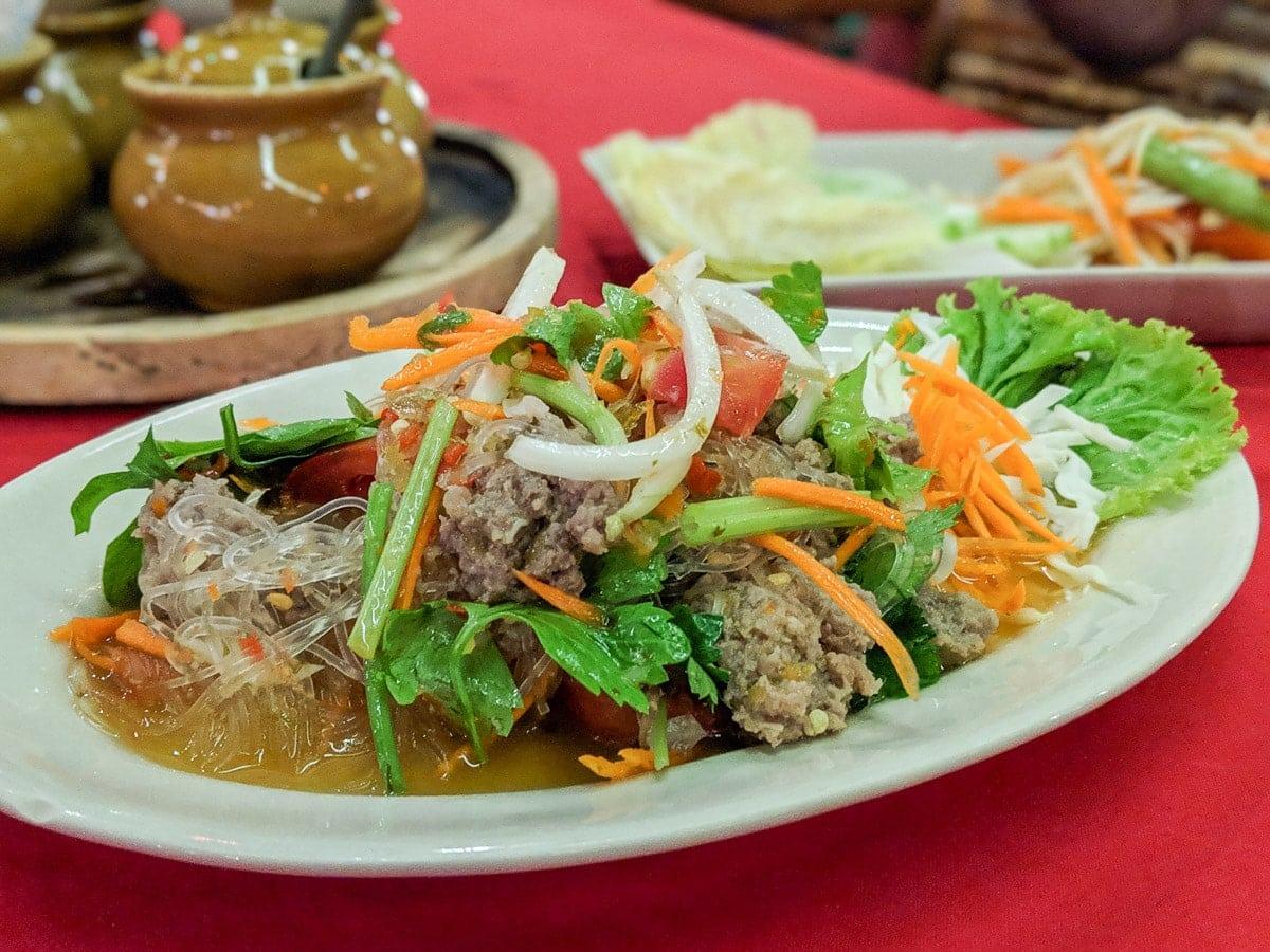 Thai larb spicy salad in Koh Lanta