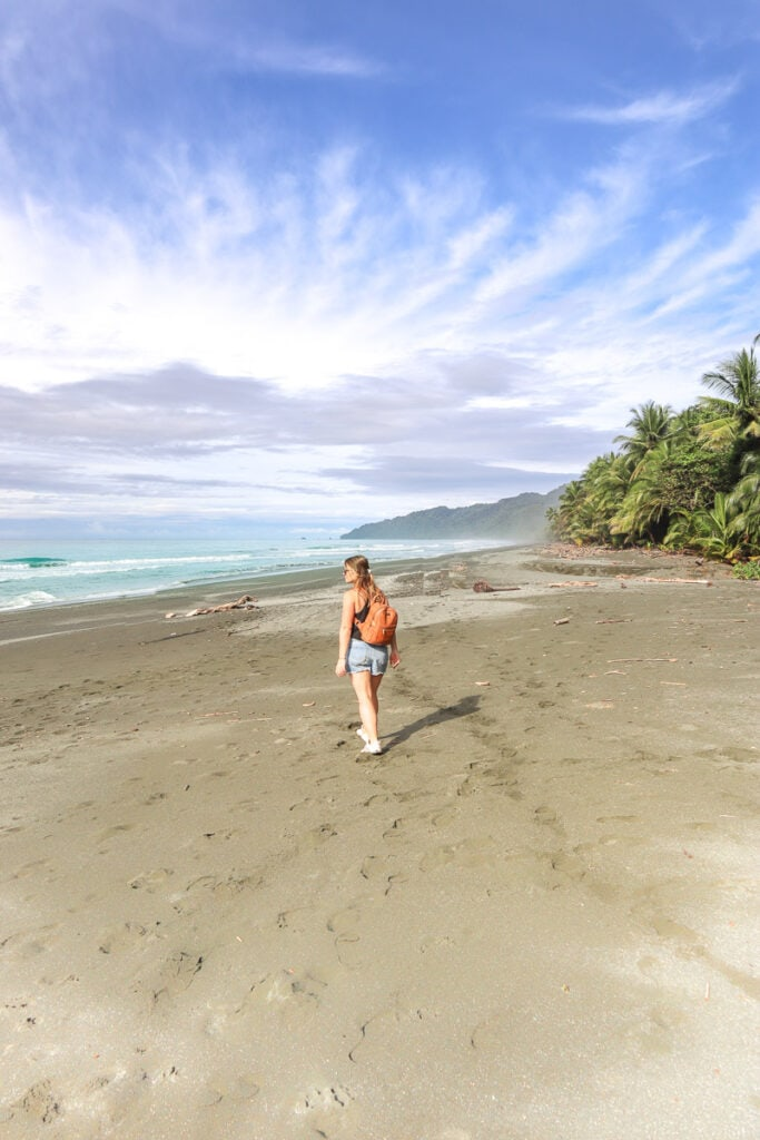 Walking on the beach in Corcovado National Park