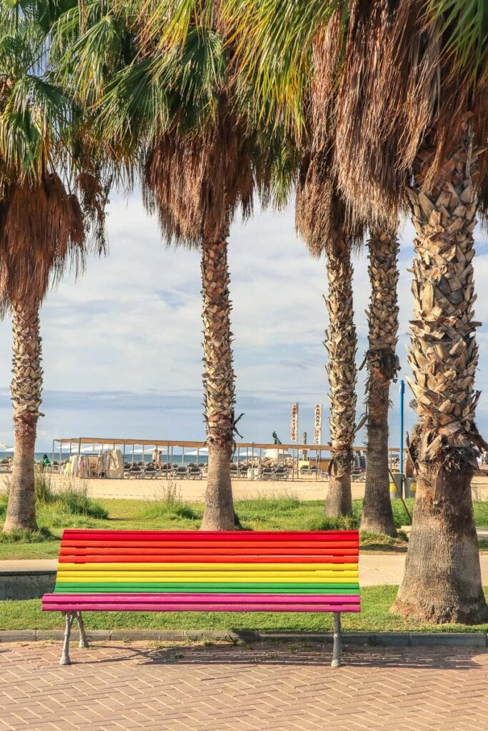 Colourful bench in Salou