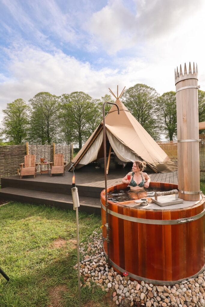 Glamping in the Cotswolds with a hot tub at Wild Carrot