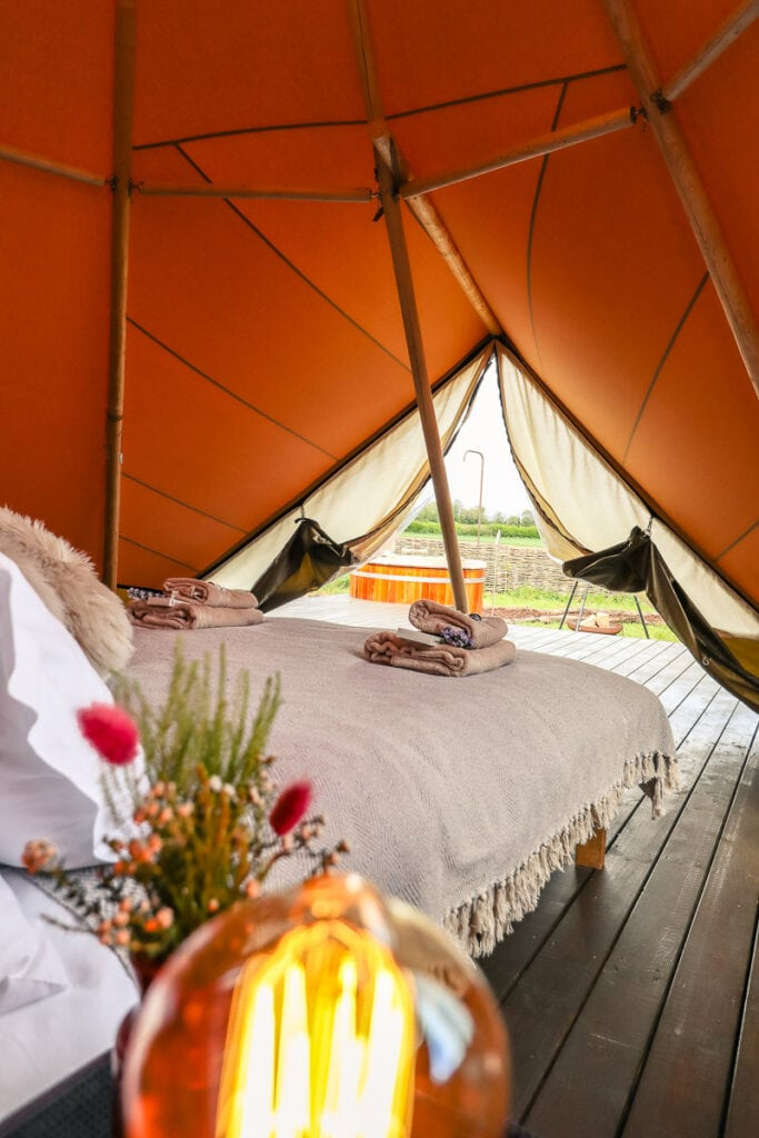 Glamping in the Cotswolds - our tipi at Wild Carrot