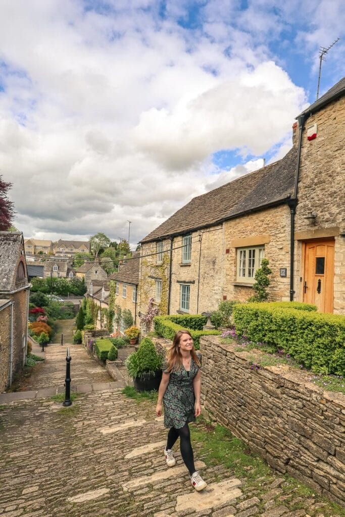 Walking up the Chipping Steps in Tetbury
