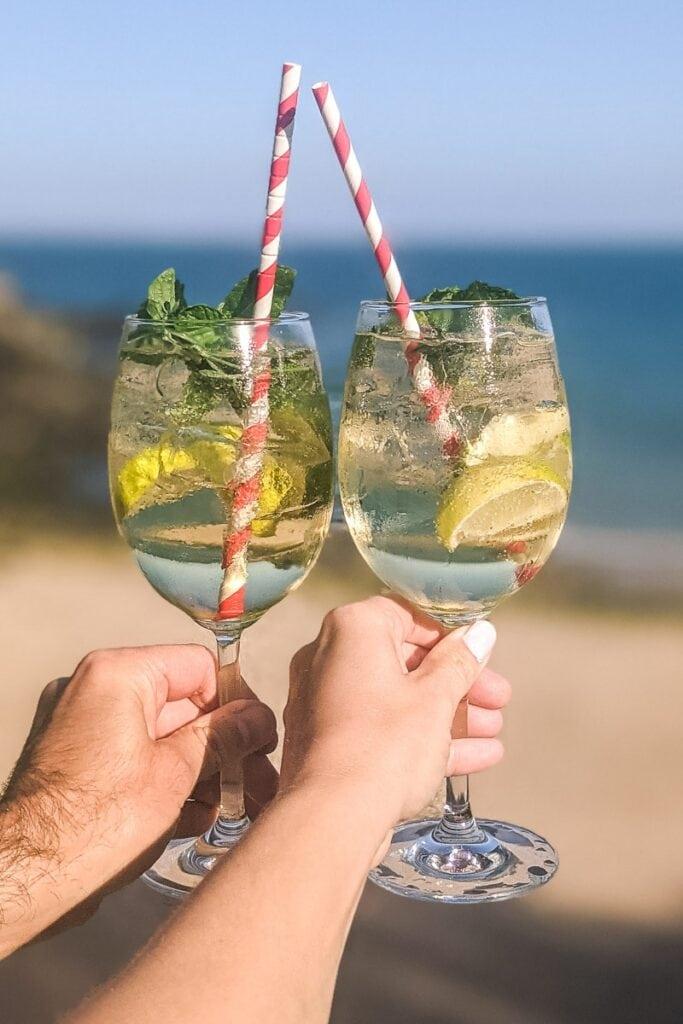 Drinks at Fermain Valley Beach in Guernsey