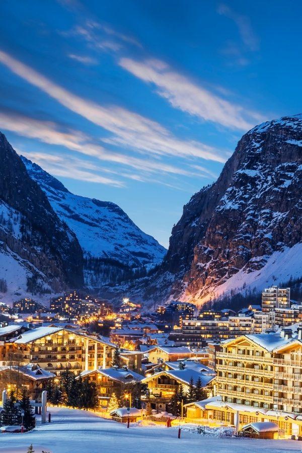 French ski resort in winter
